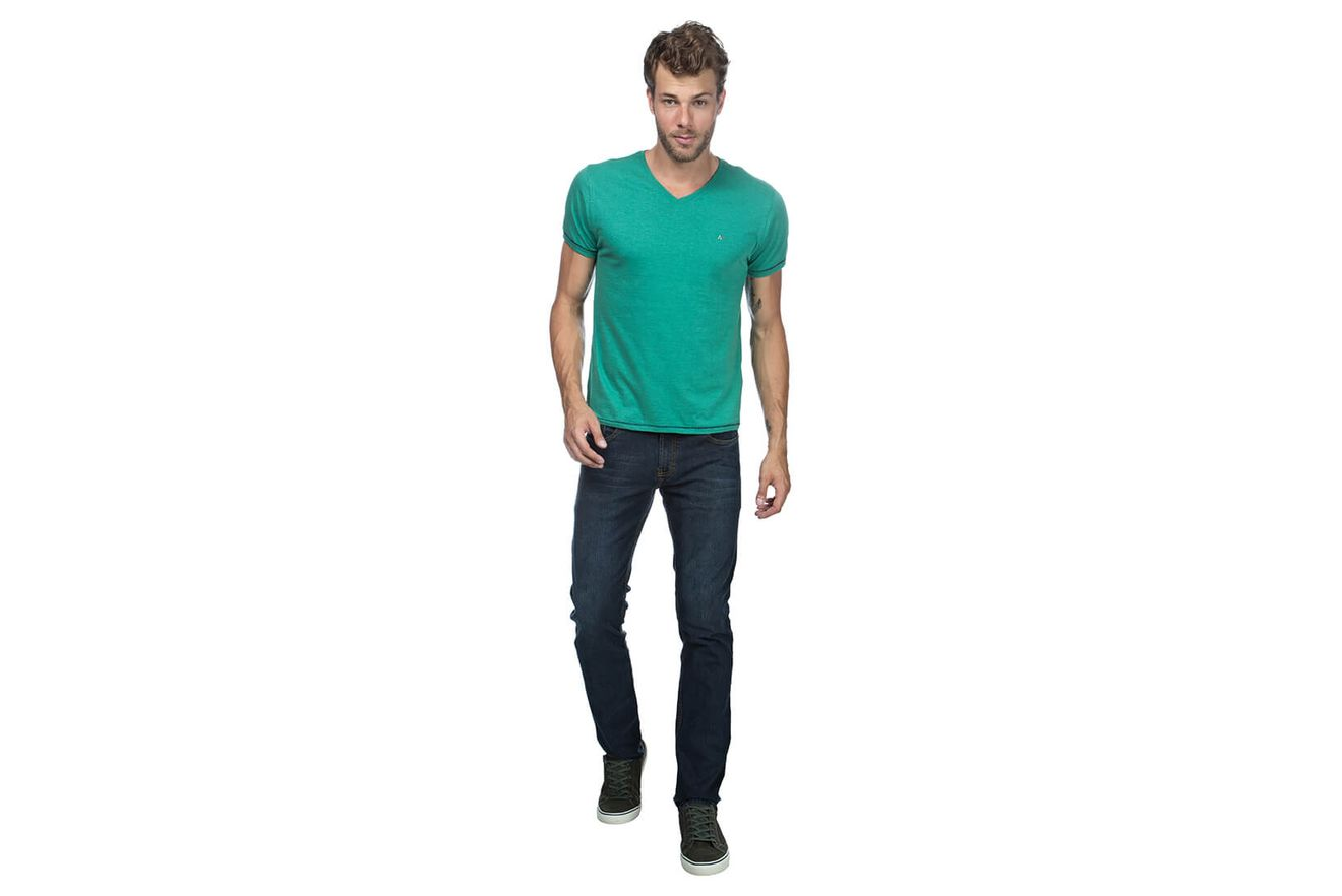 Camiseta-Decote-V-Flame-Bordado---Verde-Medio