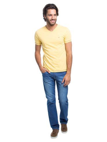 Camiseta-Decote-V-Flame-Bordado---Amarelo-Medio