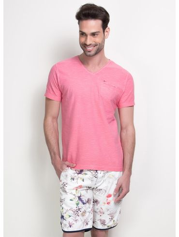 Camiseta-Decote-V-com-Bolso---Rosa-Medio