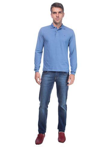 Polo-Lisa-Bordada---Azul-Jeans