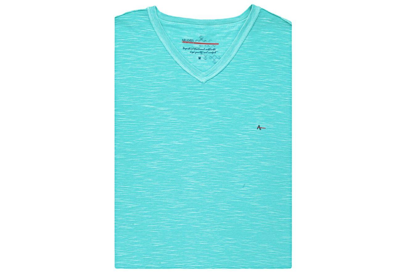 Camiseta-Decote-V-Basica---Azul-Piscina