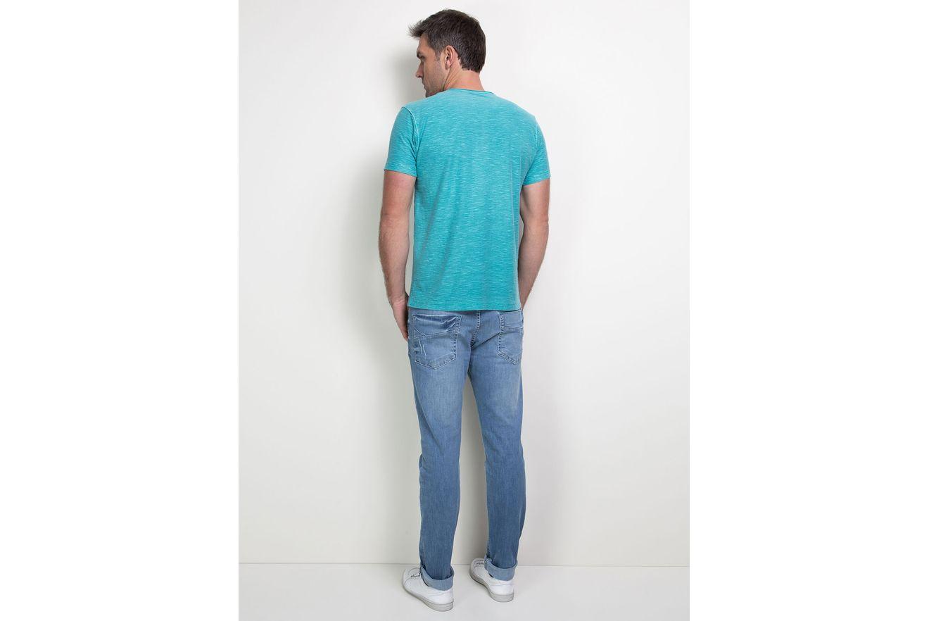 Camiseta-Decote-V-com-Bolso---Turquesa
