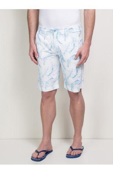 Bermuda-Chino-Estampas-Folhas---Branco-C-Azul