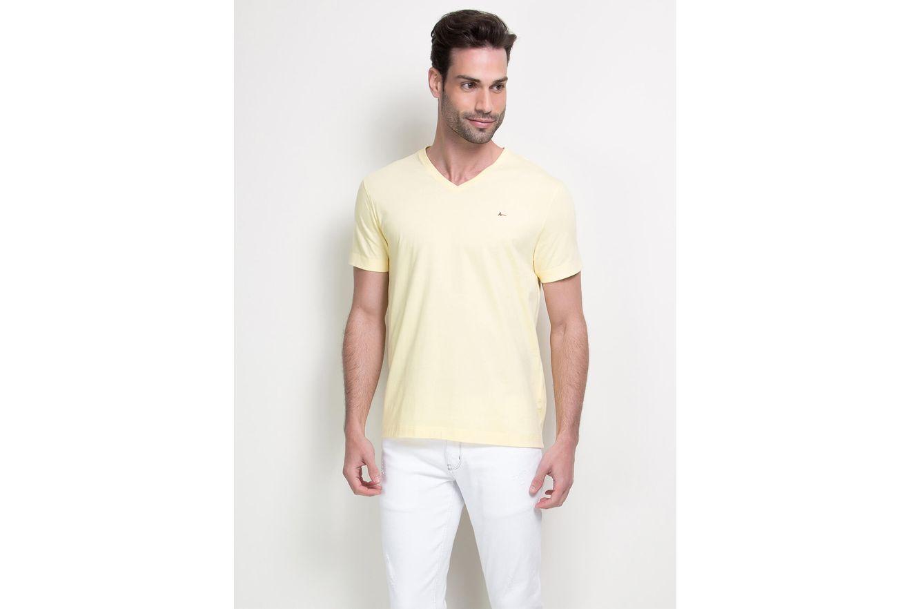Camiseta-Listras-Decote-V-Basica---Amarelo-Claro