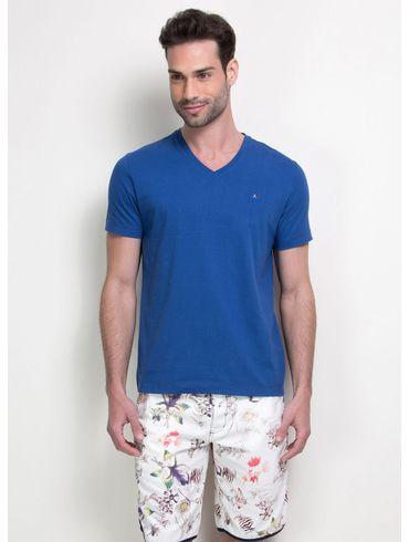Camiseta-Listras-Decote-V-Basica---Azul-Forte