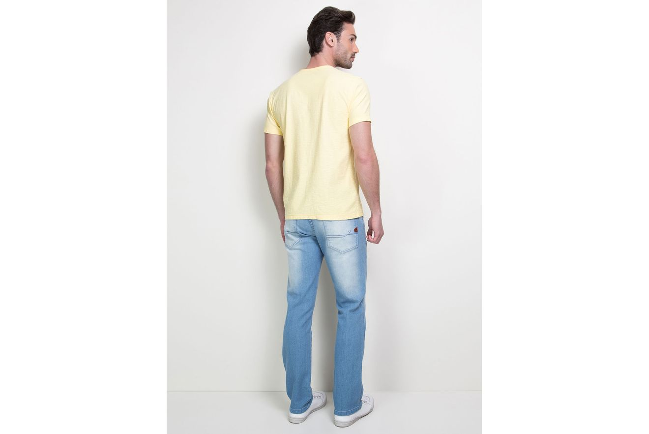 Camiseta-Decote-V-com-Bolso---Amarelo-Claro