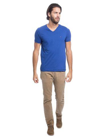 Camiseta-Decote-V-Flame-Bordado---Azul-Bic