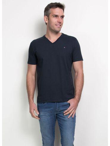 Camiseta-Listras-Decote-V-Basica---Marinho