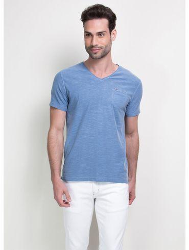 Camiseta-Decote-V-com-Bolso---Azul-Medio